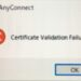 AnyConnect certificate validation Failure